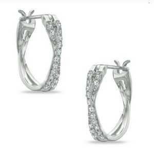 Jewelry - Genuine diamond hoop earings from zales